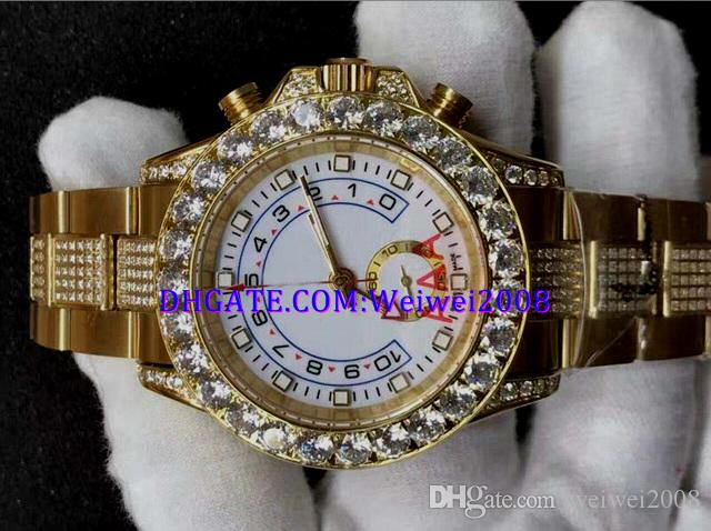 4 style MENS SWISS WATCH 116680 white dial big Diamond Bezel 40MM 18k Yellow gold dial Gold Diamond strap Automatic Watch