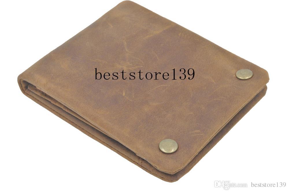 Diseñador de lujo hecho a mano hecho a mano 100% genuino cuero loco de cuero de vaca hombres billetera monedero titular de la tarjeta con cremallera carteras hombres