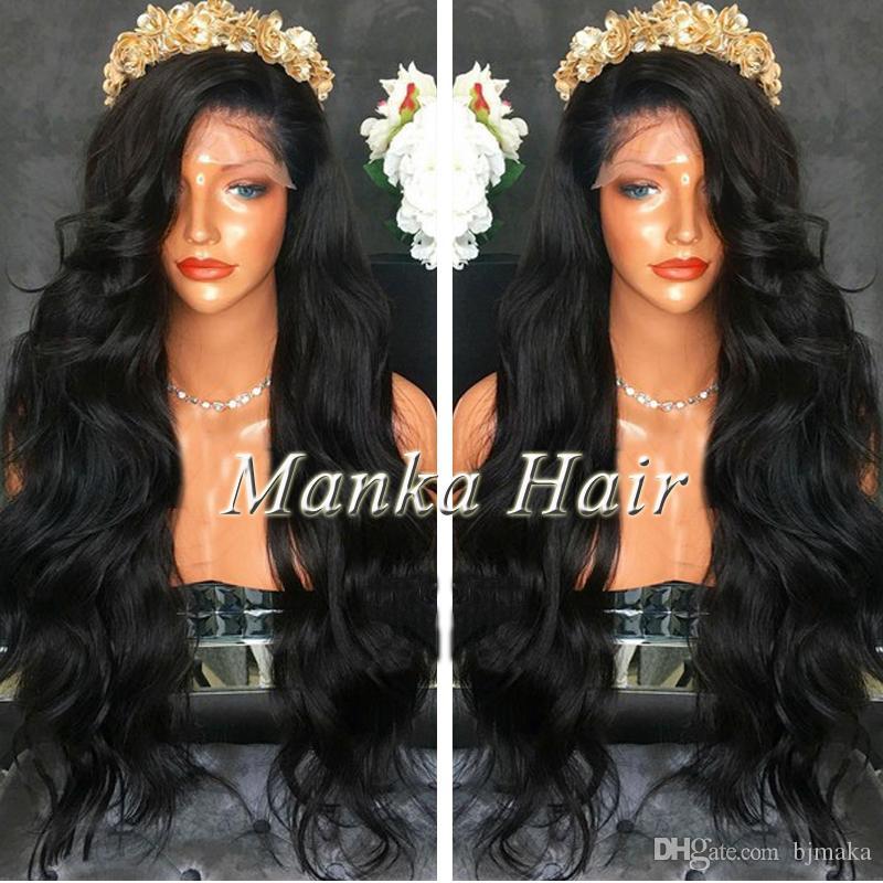 8A Grade pleine densité malaisienne perruques de cheveux humains Pleine perruque de lacet avec des cheveux de bébé normal hairline Lace Front Wig sans colle perruque