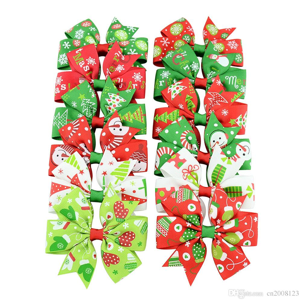 3 inch Hot Sale Baby Bow Hair Clips Christmas Grosgrain Ribbon Bows WITH Clip Snow Baby Girl Pinwheel Hairpins Xmas Hair Pin Accessories
