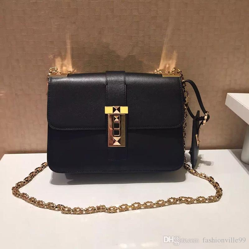 alta calidad ~ w339 cuero genuino bolso hombro cadena 23 * 17 * 8 cm moda mujer debe tener