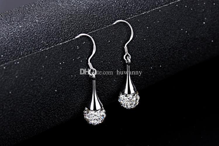 Top Grade Silver Earrings Hot Sale Shambhala Drop Dangle Earrings For Women Girl Party Gift Fashion Jewelry Wholesale Free Ship 0328WH