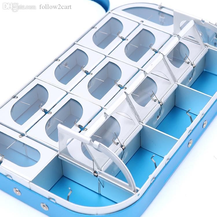 Scatole da pesca in alluminio con moschettoni da 16 scomparti Dimensione portatile 155 * 90 * 25mm Moschettoni portaoggetti con gancio Easy Open-Blue