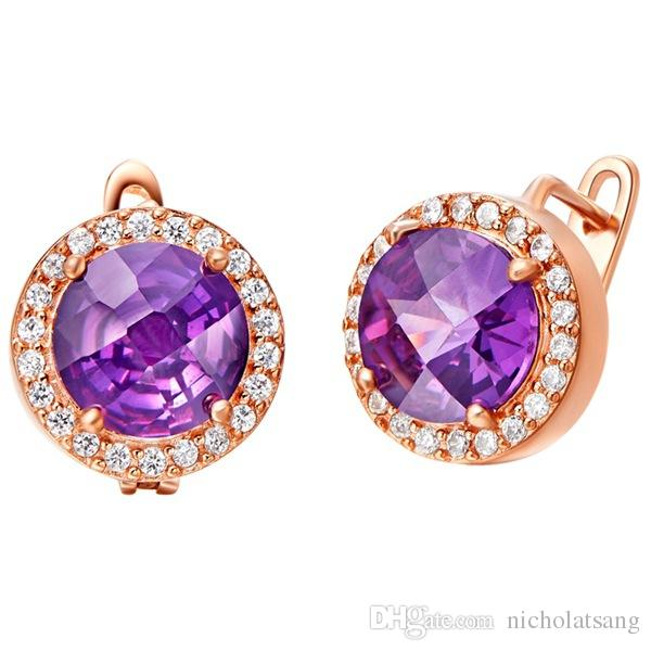 4 pz / set set di gioielli africano nuziale 18 k platino placcato oro ametista ciondolo collana orecchini di cristallo da sposa di lusso sieraden regalo delle donne