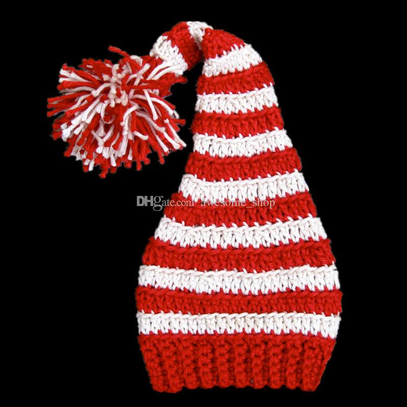 Crochet Baby Santa Elf Hat,Handmade Knit Crochet Baby Boy Girl Christmas Stocking Hat,Kids Pompom Winter Hat,Infant Newborn Photo Prop