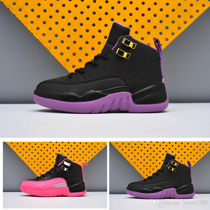 quality design d8f95 6d843 BG GS 12s kids basketball shoes Black Violet Infant Sports sneaker Black  Deadly Pink big boy and girl children Toldder 12s Trainer