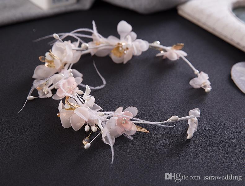 Bridal Wedding Handmade Feather Flowers Headdress Bridal Headband Crown 2018 Romantic Feather Flowers Bridal Tiaras Jewelry Accessories