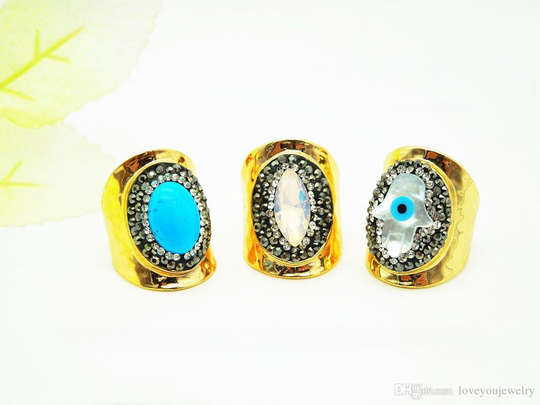 Wholesale Natural Turquoise Gem Opening Ring,Blue Eyes Palm Gold Plating Ring,Men and Women Fashion Jewelry
