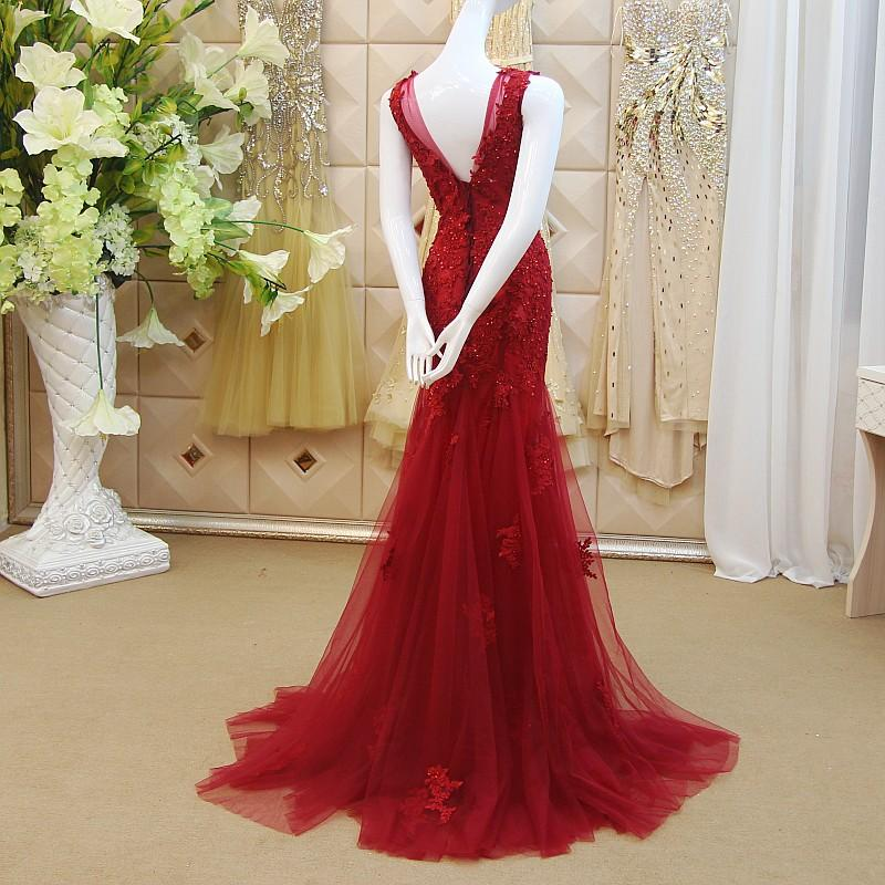 Dress Evening Wear 2016 Red Lace Appliques Mermaid Style Tulle With Beaded Prom Gowns Sexy V Neck Elegant Long Dresses For Ladies