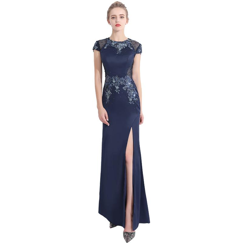 Evening Dress 2017 Elegant Dark Blue Jewel Neck Zipper Back Short ...