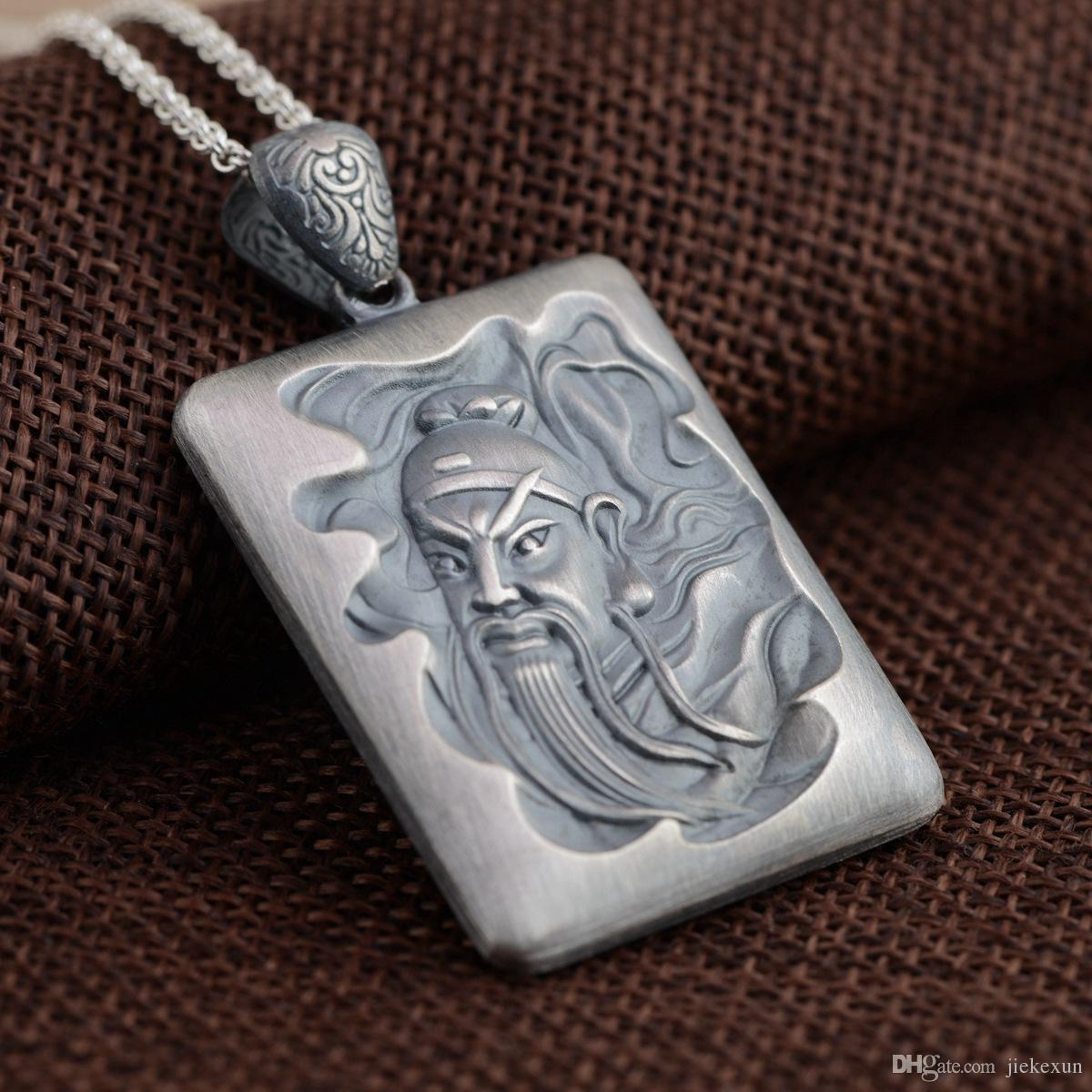 Wholesale 999 fine silver pendant guan gong heart sutra new see larger image aloadofball Image collections