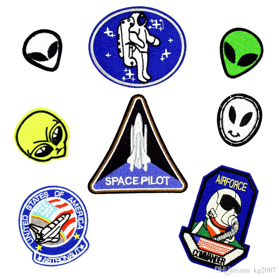 Space Embroidered Patches for Clothing Iron on Transfer Applique Patch for Jeans Bags DIY Sew on Embroidery Kids Stickers