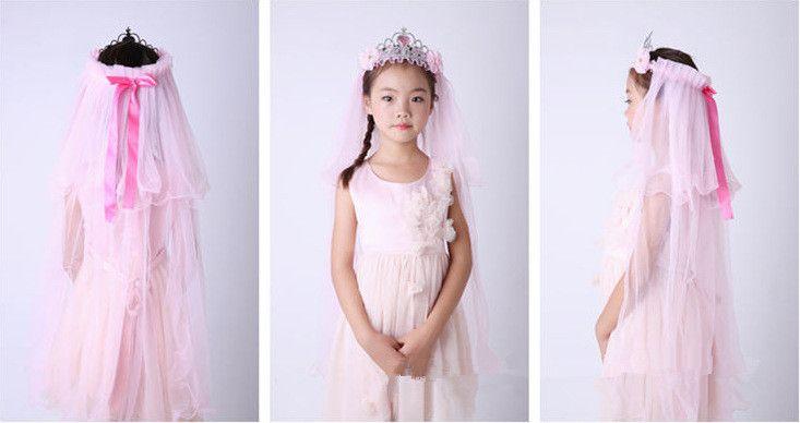 Fashion Children Girl Princess Bridal Lace Hairband Veil Crown Headband Party Wedding Festival Crown Hair Accessories