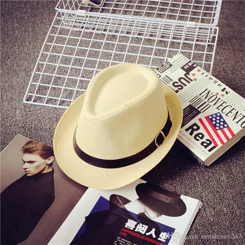 Cheap Vogue Men Women Hat Kids Children Straw Hats Cap Soft Fedora Panama Belt Hats Outdoor Stingy Brim Caps Spring Summer Beach