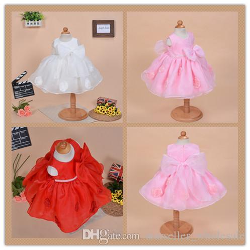 Großhandel Rosafarbenes / Blaues / Rotes Baby Mädchen Kleid Organza ...