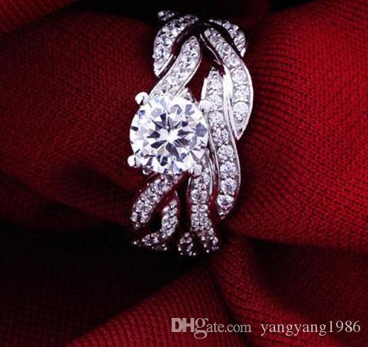 Оптовая бесплатная доставка прекрасные женщины круглый вырезать CZ 10kt белого золота заполнены Gf имитация Алмаз обручальное кольцо набор с коробкой