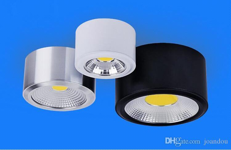 Venta caliente Superficie montada LED Downlight con COB 5W / 10W Dimmable LED abajo luces, Color del cuerpo: Blanco / plata / cáscara negra