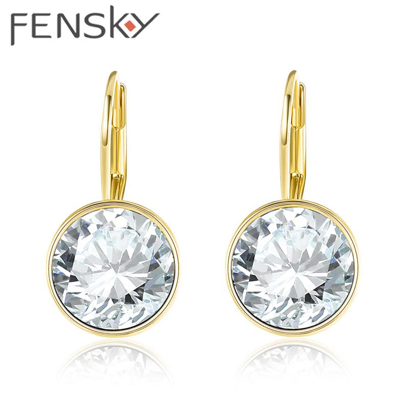 2018 Fensky New Trendy Women Round Crystal Stud Earrings White ...