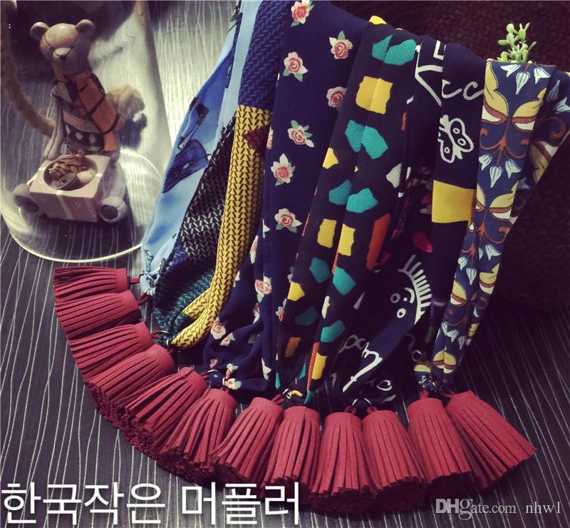 Chegada nova boemia pendente lenço lenço floral para as mulheres moda primavera outono borla pingentes cachecóis lenço de pescoço panos de presente