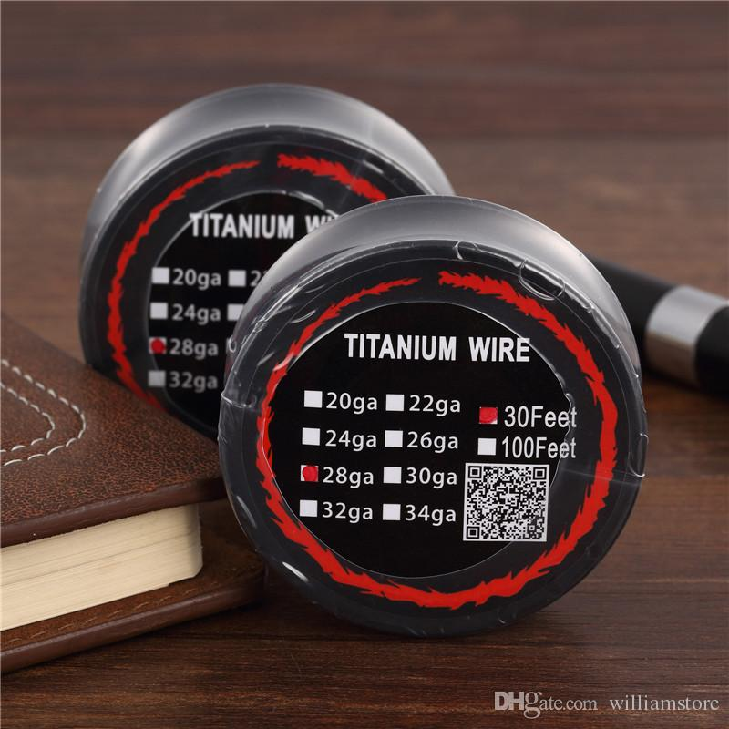 Titanium Wire Resistance 30 Feet TA1 Ti AWG 26g 28g 30g Gauge Coil Roll For Temp Control TC Vape Mod Electronic cigarettes