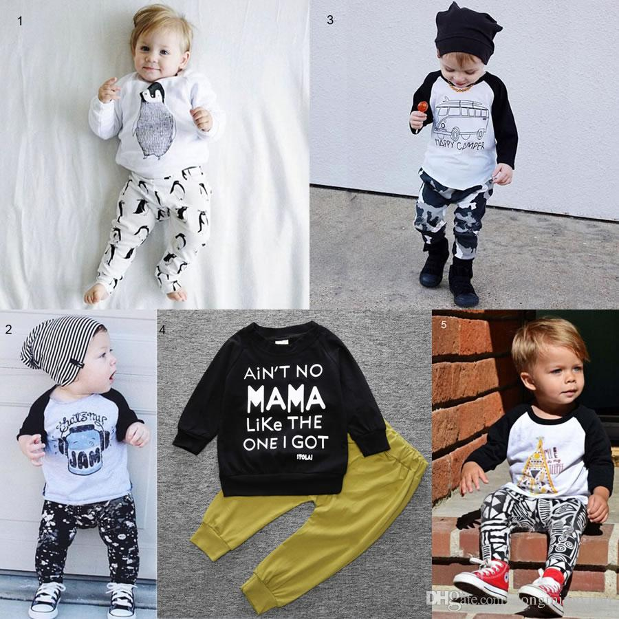 62fe1e49a8616 New Year Christmas Baby Boy Girl Clothes Set China Kid Long Sleeve My First  Birthday Penguin T Shirt+Pant Sport Suit Outfits Newborn Costume