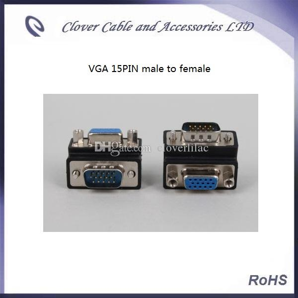 Good Quality of 15PIN Male To Female 90 Degree Right Angle VGA Plug D-SUB Adapter