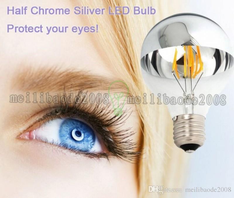 Nuevo G80 medio cristal claro y medio vidrio de color de la astilla LED luz del filamento blanco / blanco caliente 6.5W dimmable LED bombilla shadowless MIY