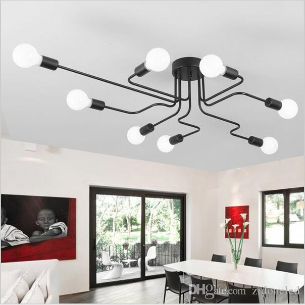 2018 Wrought Iron 6 8 Heads Ceiling Light Diy Multiple Rod Dome Lamp Creative Personality Design Retro Nostalgia Cafe Bar From Zidoneled