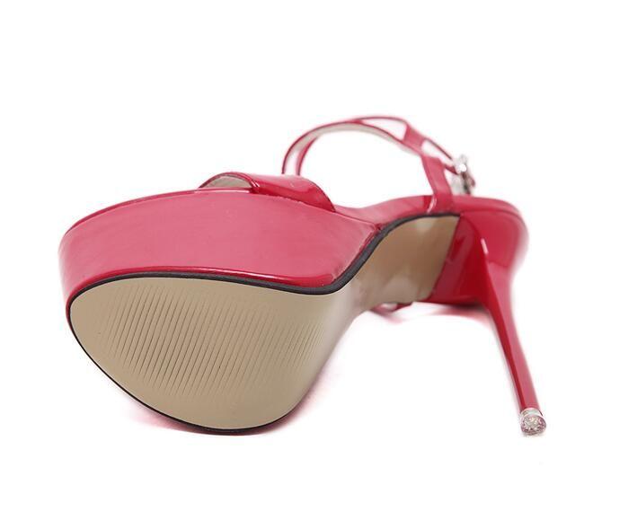 2016 estate donne tacco alto 17 cm moda donna sexy sandali pompe peep toe tacco sottile cinturino alla caviglia scarpe da donna