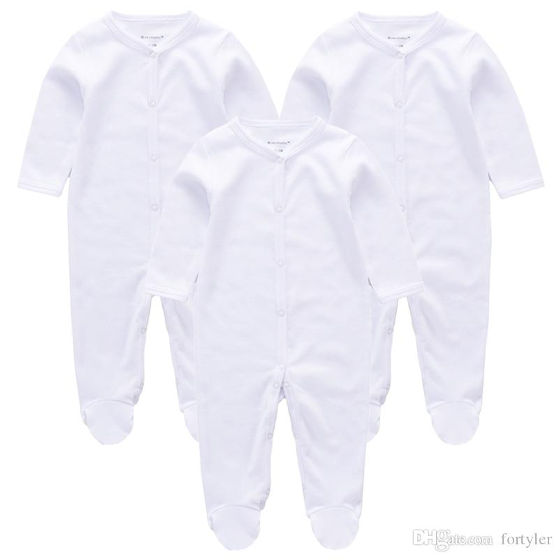 c38b1002bb6a 2019  Pack Newborn Cut Plain Baby Rompers Set Fashion Cotton Infant ...