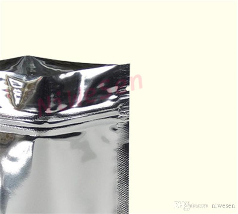 14x20cm Zipper pouch, Aluminum foil ziplock plastic bags, Silver plating mylar foil poly pouches zip grip Resealable food packaging