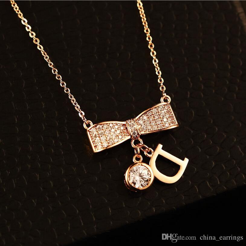 2017 Rose Gold Color Fashion Bowknot Letter D Necklaces Pendants Accessories Collar, Necklace For Women Wedding CZ Crystal Wholesale