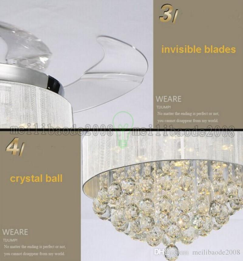 european crystal ceiling light with fan 42inch invisible blades fan light for bedroom dining room MYY