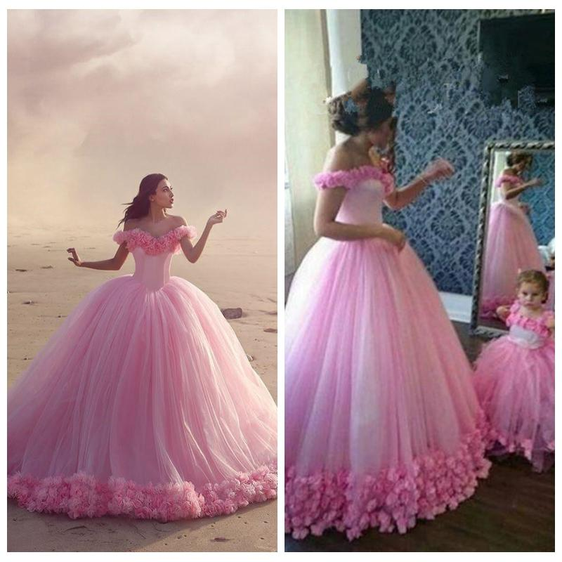 f80428940b3 Pink Ball Gown Offer Shoulder 3D Flowers Adorned Prom Dresses Chapel Big  Mother And Daughter Best Matching Party Dress Flowers Girls Gowns Couture  Prom ...