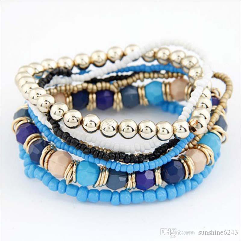 2017 caliente! Venta al por mayor de joyería de verano bohemio MutiLayer Beads Bracelets Bangles para mujeres Elastic Strand envío gratis