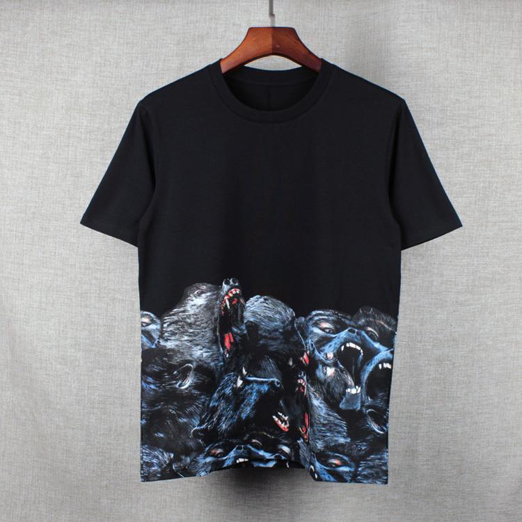 2016 년 여름 조수 새로운 인쇄 짧은 t 원숭이 커플 조수 남성과 여성의 둥근 목 반팔 티셔츠 티