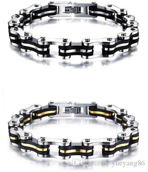 Cool Biker Best Friend Gift Trendy 316L Stainless Steel Mens Women Bicycle Chain Bracelet 9mm 8.8 inches Silver Gold Black