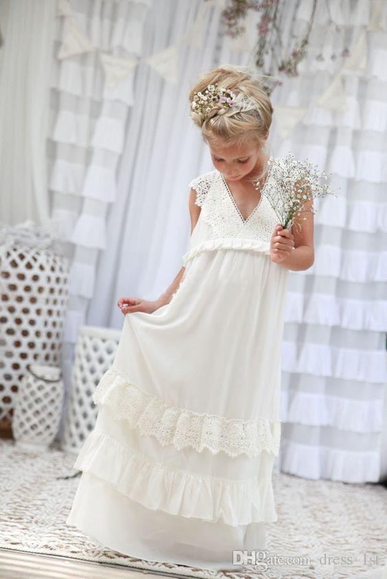 Romantic 2019 New Arrival Boho Flower Girl Dresses For Wedding Cheap V Neck Chiffon Lace Tiered Formal Kids Wedding Dress Custom Made