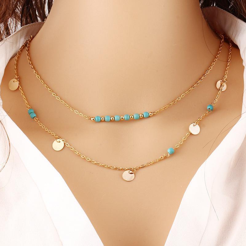 بوهو مجوهرات الفيروز الخرز طبقة مزدوجة سلسلة قلادة حار بيع عملة tassle بوهيميا قلادة القلائد مجوهرات براق سحر النساء