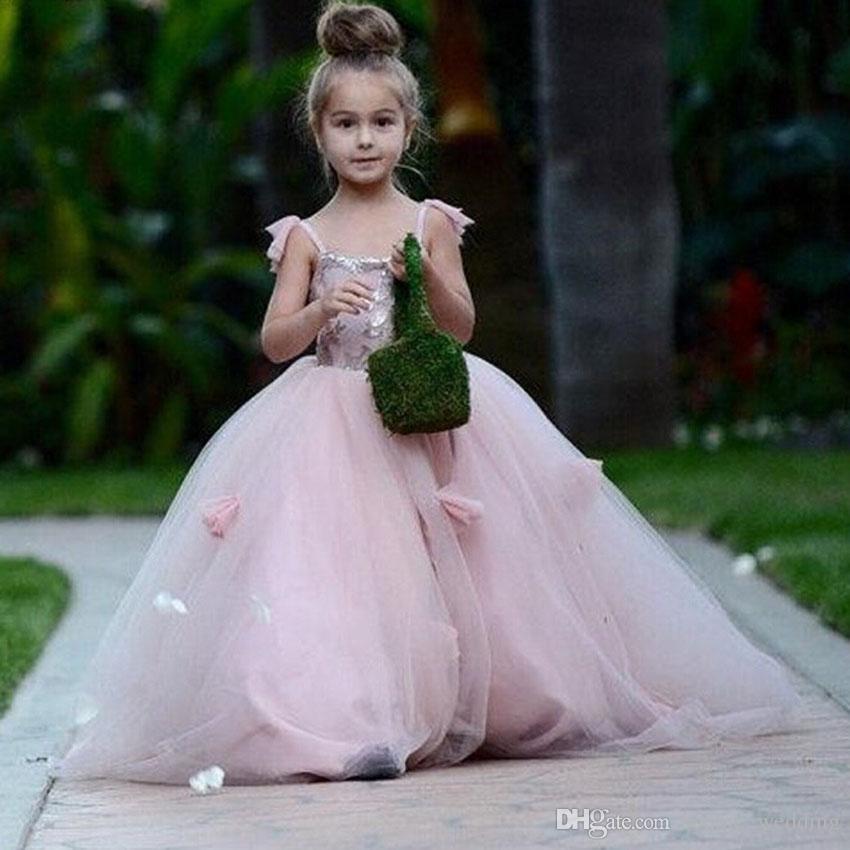 245efdaead Pink Tulle Ball Gown Flower Girl Dresses For Weddings Long Kids Prom Dresses  YY258 Flower Girl Baskets Girl Dress From Sophie wedding