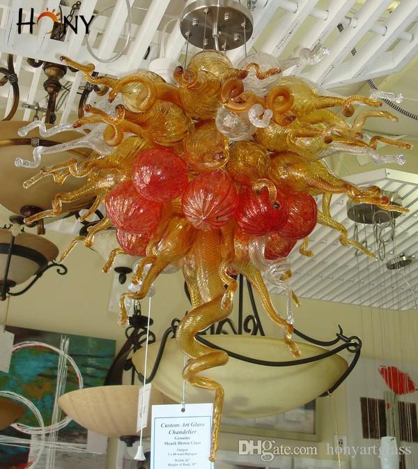 Envío gratis 110 v / 120 v / 220 v / 240 v CE / UL Showroom Light Nueva llegada mano soplado vidrio moderno araña