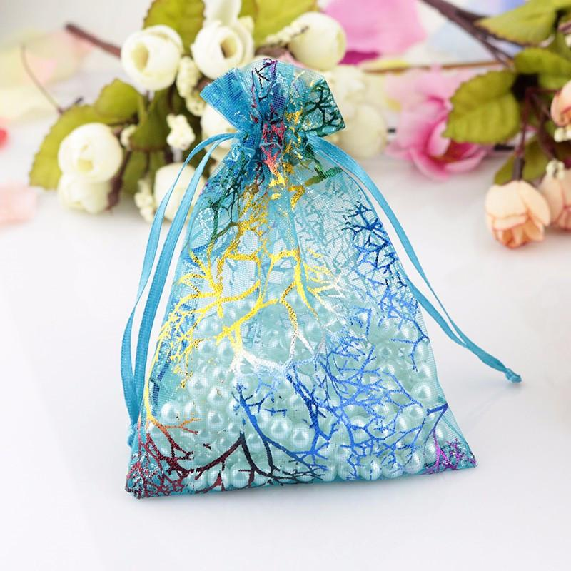 Coralline Organza Drawstring Jewelry Packaging Pouches Party Candy Wedding Favor Gift Bags Design Sheer with Gilding Pattern 10 x15cm