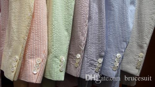 Design weiße und blaue Streifen Seersucker Smoking für Männer Strand Hochzeitsanzüge für Groomman Sommer Hochzeitsanzüge für Bestman Jacke + Hose + Krawatte