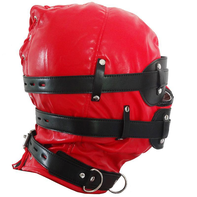 2016 New Red Mask Harness New Fetish PVC Soft Leather With Goggles Multiplex Hood Adult Sex Game Headgear Toys