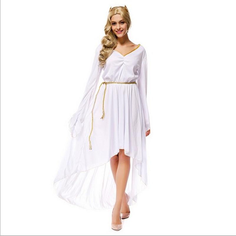 New Arrival Greek Goddess Athena White V Neck Long Dresses Sexy Cosplay  Halloween Costumes Uniform Temptation Stage Performance Clothing Halloween  Themes ... c4d40e730457