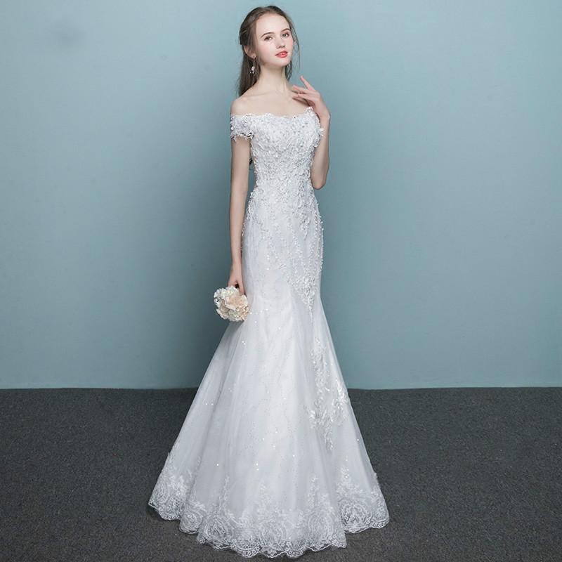 Wedding Dress Elegant White Boat Neck Short Sleeves Lace Up Back ...