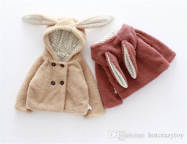 Cute girl Hoodies baby Girl Outwear Cartoon Animal Rabbit Outwear Teddy Velvet For Lovely Baby