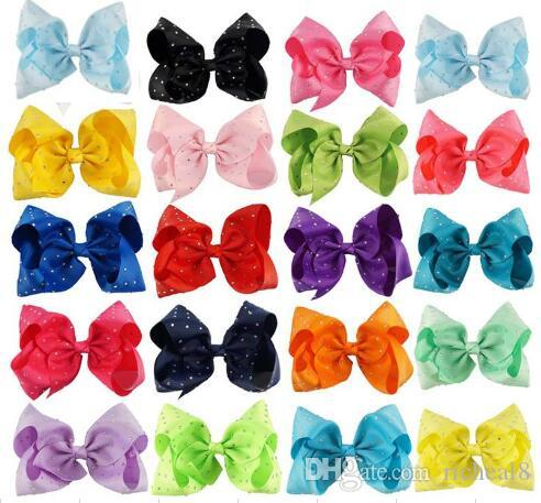 Cheerleading 8 Inch JOJO Rhinestone Hair Bow With Clip For School Baby Children Pastel Bow 10 Style Option