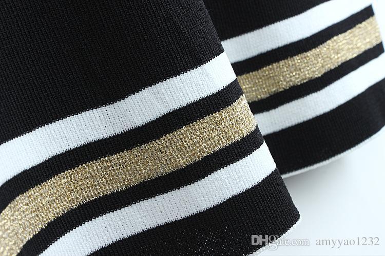 Ücretsiz Kargo 2017 Marka Aynı Stil Elbise Nakış Sonbahar V Boyun Bir Çizgi V Boyun Diz Boyu 1/2 Kollu İmparatorluğu Moda DL