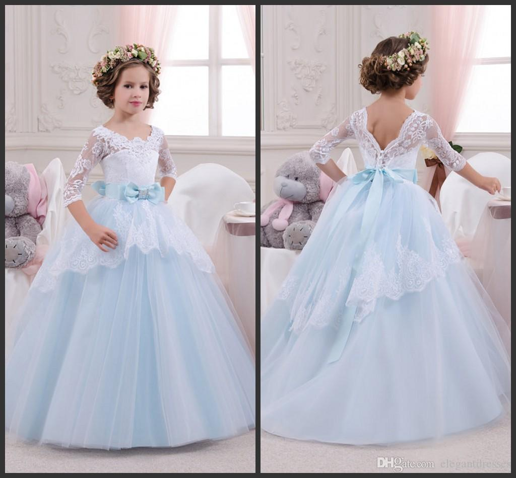 a294956da7e White And Blue Lace Girl Dress Birthday Wedding Party Holiday Bridesmaid 14  Years Old Tulle Lace Flower Girl Dresses Flower Girl White Dresses Flowers  Girls ...